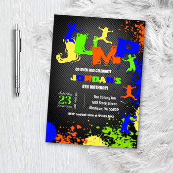 Jump Birthday Invitation, Trampoline Park Invite, Boy Girl Party Invite for SkyZone Jump Zone