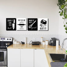 Kitchen Wall Art Print Set of 4 - Music Rap Quotes - Funny Minimal Wall Art Black and White - FREE SHIPPING