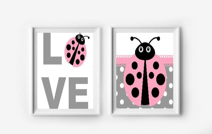 Ladybug Wall Art Prints - Set of 2 - Girls Bedroom Pictures