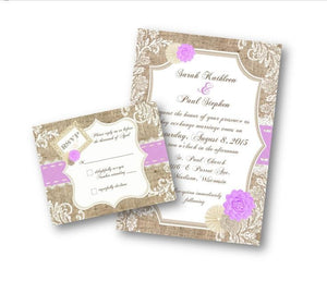 Lavendar/ Purple Burlap And Lace Wedding Invitations - Wedding Suite