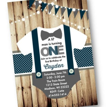 Lil Man Invitation Onesie Suspender 1st Birthday Invitation Invites - Birthday Invitation