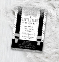 Little Man Baby Shower Invitation - Black and White with Silver baby shower Lil Man Boy Onesie Bowtie invite flyer for boys - Baby Shower