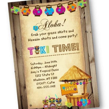 Luau Tiki Time Party Invitation Flyer - Birthday Invitation