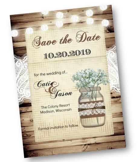 Mason Jar Babys Breath Save The Date Wedding Invitation Card - Save the Date