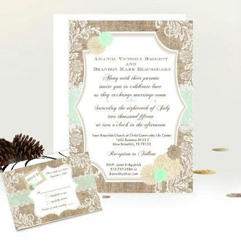 Mint Burlap and Lace Shabby Chic Vintage Style Wedding Invitation Suite - Wedding Suite