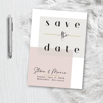 Modern Block Save the Date Invitation Announcement Engagement card - blush pink - dusty rose - gold Minimalist Invite