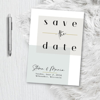 Minimalist Modern Block Save the Date Invitation Announcement Engagement card - sage Green mint - gold Minimalist Invite