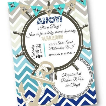 Nautical Baby Shower Invitation Flyer with Navy Blue and Teal Chevron - Baby Shower Invitation