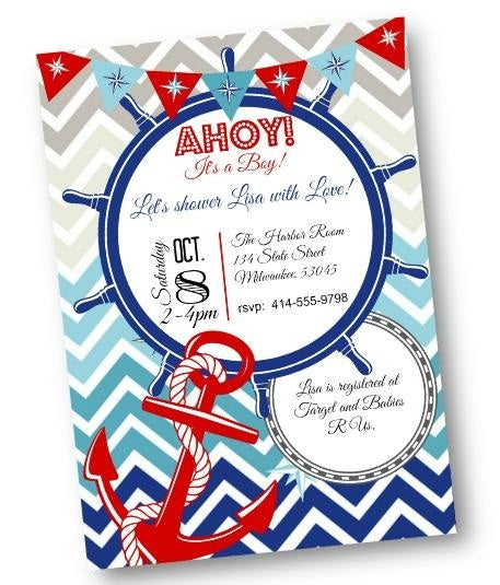 Nautical Baby Shower Invitation Flyer with Red White and Blue and Anchor - Baby Shower Invitation
