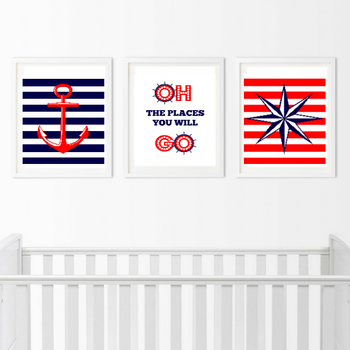Nautical Wall Art - 3 Piece Anchor Prints - Bedroom Pictures