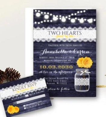 Navy and Yellow Wedding Invitation Set with RSVP Rustic Mason Jar Floral Wood and Lace Country Barn Printed Invitations - Wedding Suite
