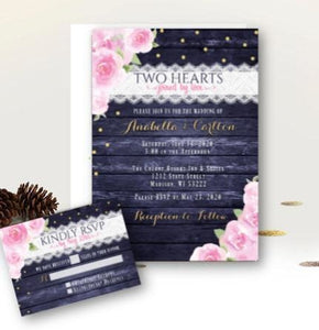 Navy Blue and Blush Wedding Invitation Set Navy Blue Blush Pink Themed Wedding wedding invitations with rsvp printed or printable - Wedding