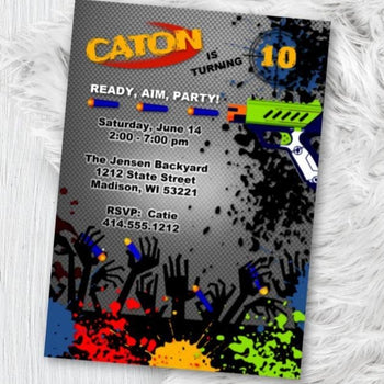 Nerf Gun Birthday Party Invitation - Dart Battle Birthday Theme Invite - Printed or Printable - Nerf Battle Invite Boy Flyer - Birthday