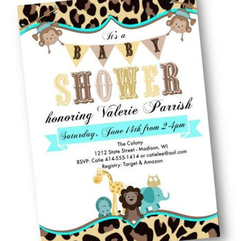Noahs Ark Teal Baby Shower Invitation Flyer for boy or girl with blue or pink - Baby Shower Invitation