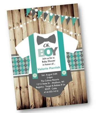 Onesie Baby Shower invitation for boys - rustic teal Oh boy flyer invite - Baby Shower Invitation