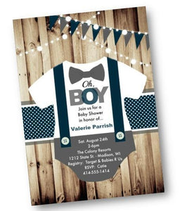 Onesie Boy Baby Shower Invitation - Rustic baby shower invite flyer for boys - Baby Shower Invitation