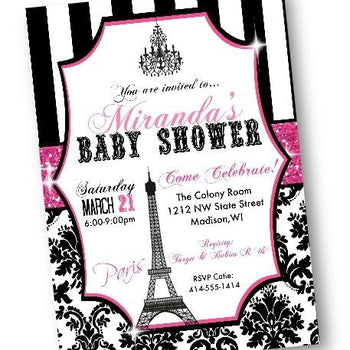 Paris Baby Shower Invitation flyer with pink and black - Baby Shower Invitation