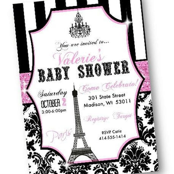 Paris Baby Shower Invitation with eiffel tower - Baby Shower Invitation