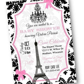 Paris Baby Shower Invitation with Eiffel Tower in pink and black - Baby Shower Invitation