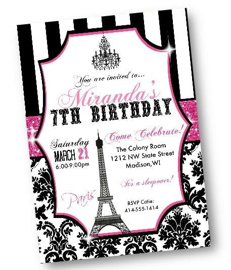 Paris Birthday Invitation with Eiffel Tower in Pink and Black - Birthday Invitation