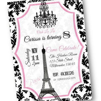 Paris Birthday Party Invitation flyer with eiffel tower in pink and black paris theme - Birthday Invitation