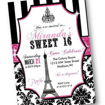 Paris Sweet 16 Birthday Invitation Quinceanera Flyer with Eiffel Tower - Birthday Invitation