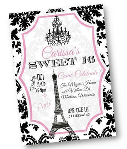 Paris Sweet 16 Invitation flyer Quinceanera invitation with Eiffel Tower - Birthday Invitation