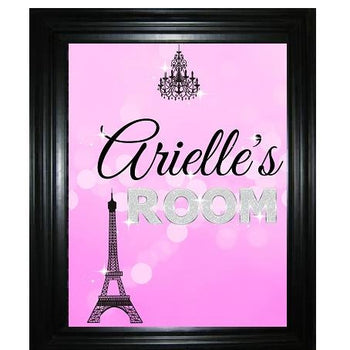 Paris Wall Art Print - Girl Bedroom Decor - Personalized Name Wall Picture