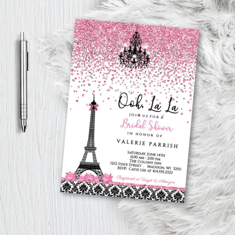 Paris Bridal Shower Invitation flyer with pink and black damask eiffel tower Parisian themed invites Printed or Printable