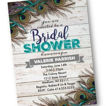 Peacock Bridal Shower Invitation flyer rustic with teal - Bridal Shower Invitation