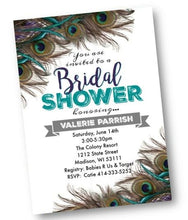 Peacock Bridal Shower Invitation flyer with teal - Bridal Shower Invitation