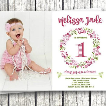 Photo Floral Birthday Invitation - Birthday Invitation