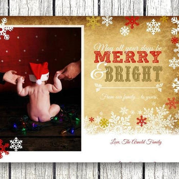Photo Gold Snowflake Christmas Card - Christmas Card