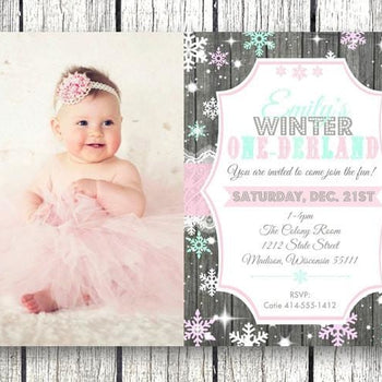 Photo One-Derland 1st Birthday Girl Invitation - Holiday Invitation