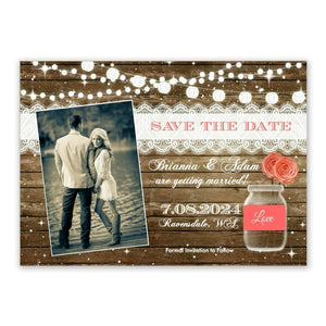 Photo Rustic Mason Jar Save the Date Wedding Invitation - Save the Date