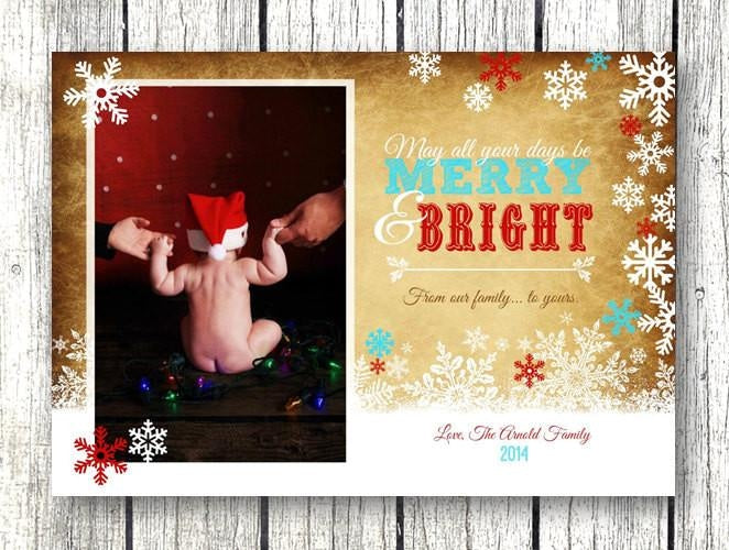 Photo Rustic Snowflake Merry And Bright Christmas Card - Christmas Card