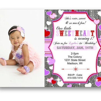 Photo Sweetheart 1st Birthday Invitation - Birthday Invitation