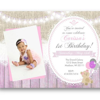 Photo Teddy Bear 1st Birthday Invitation - Birthday Invitation