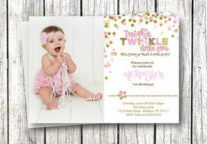 Photo Twinkle Twinkle Lil Star Girls Birthday Invitation - Birthday Invitation