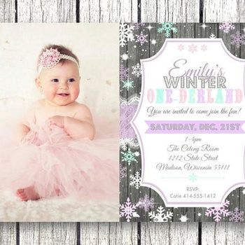 Photo Winter One-derland 1st Birthday Invitation with Photo - Holiday Invitation