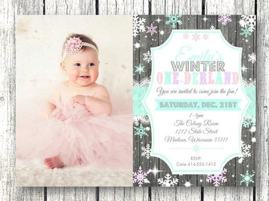 Photo Winter One-derland Birthday Invitation with Photo - Holiday Invitation