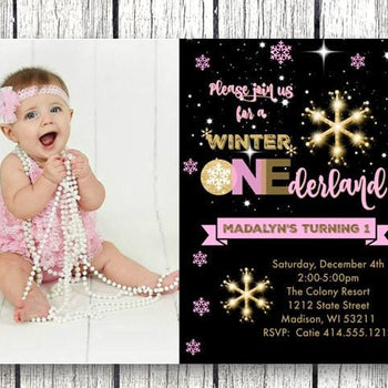 Photo Winter Onederland Birthday Invitation - Holiday Invitation