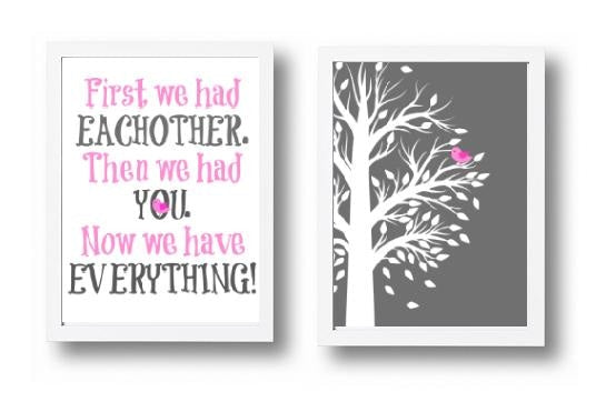 Pink and Grey Wall Art - 2 Piece Bedroom Prints - Baby Girls Bedroom Pictures