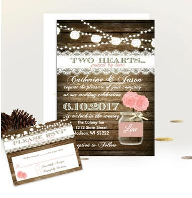 Pink Blush Rustic Mason Jar Wedding Invitation Suite with RSVP - Wedding Suite