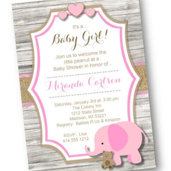 Pink Elephant Baby Shower Invitation for Girl - Baby Shower Invitation