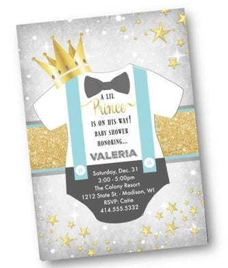 Prince Baby Shower Invitation Gold and light blue Lil Prince onesie Little Prince invite flyer - Baby Shower Invitation