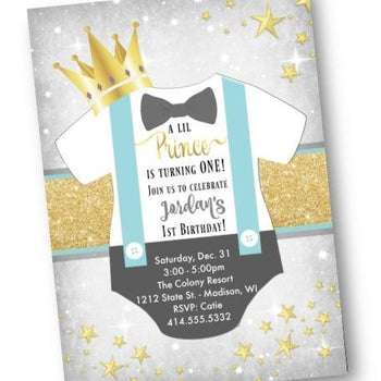 Prince Birthday Invitation Little Prince Gold and light blue onesie Royal invite flyer - Birthday Invitation