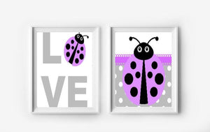 Purple Ladybug Wall Art Prints - Set of 2 - Girls Bedroom Pictures