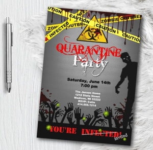Quarantine Party Invitation Invite, Corona VIrus Covid 19 House Release Party Zombie Birthday Party Invitation Zombie Apocalypse Flyer