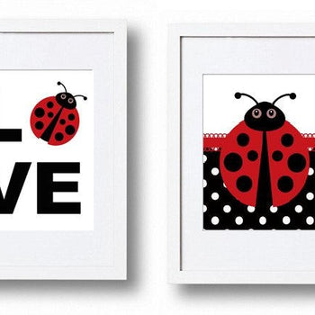 Red Ladybug Wall Art Prints - Set of 2 - Girls Bedroom Pictures
